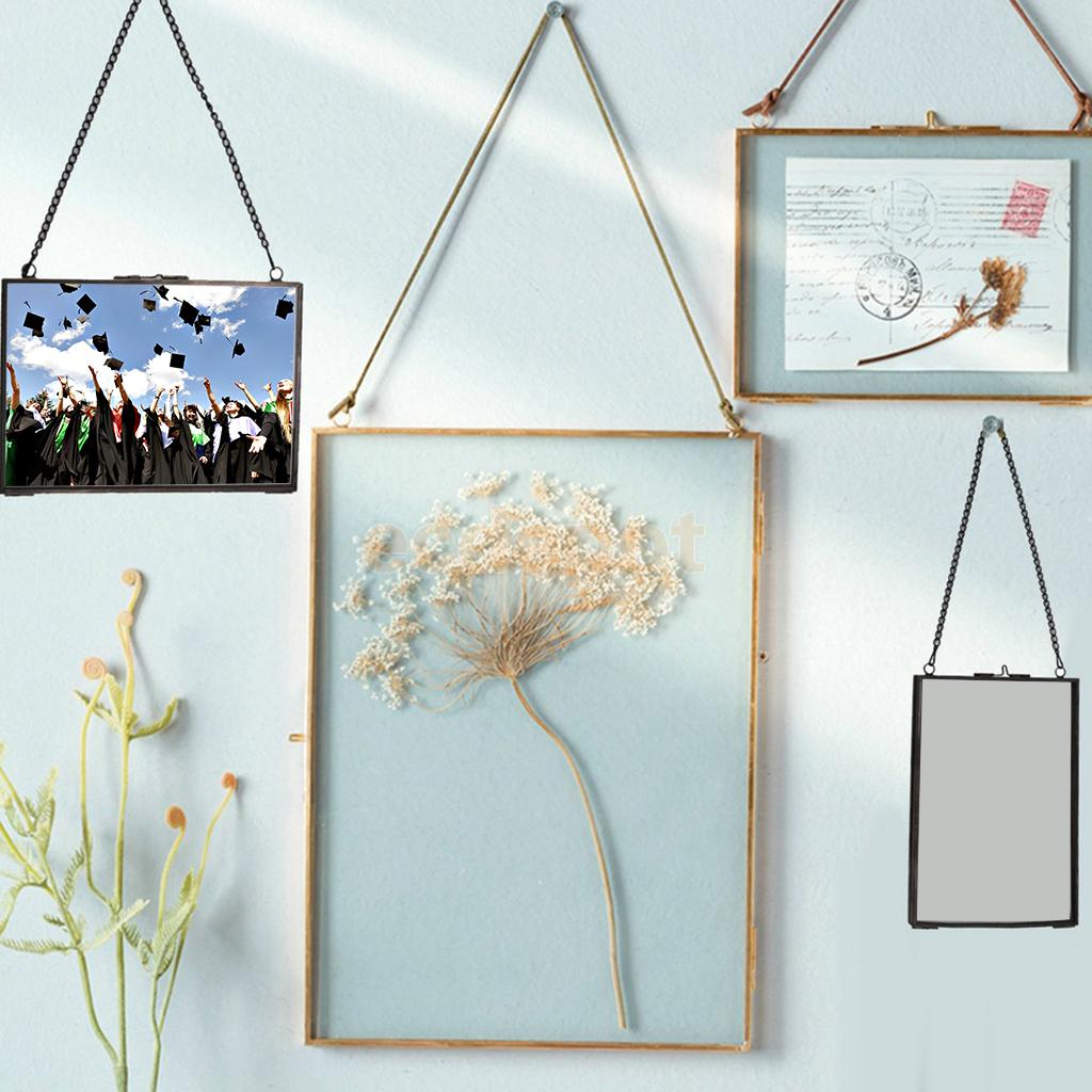 Industrial Style Double Sided Glass Hanging Photo Frame Wall Frame Flower Plant Specimen Portrait Display Frame Holder