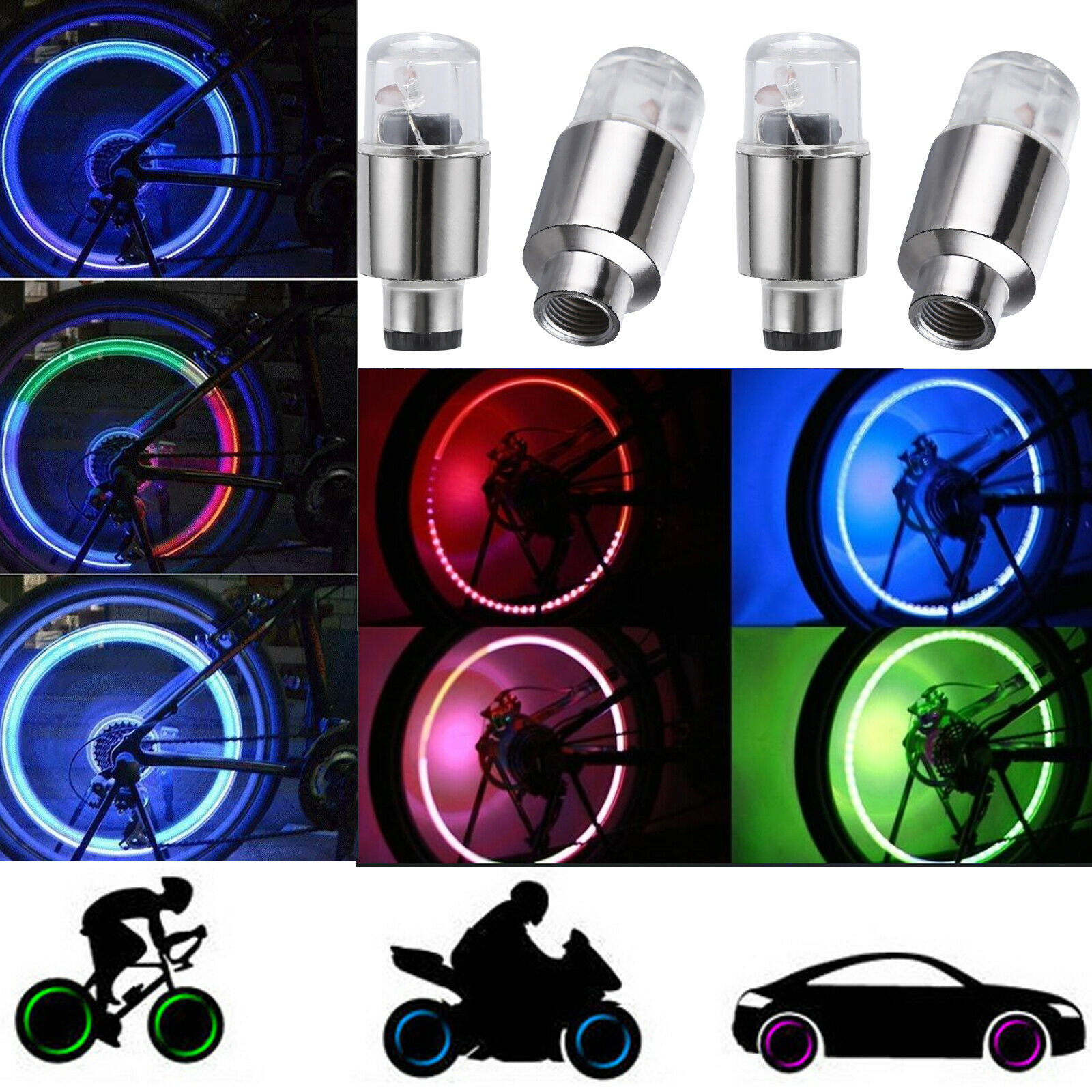 2//10pcs LED Valve Dust Cap Tire Tyre Colour Lights For Car Bike Wheel Batteries