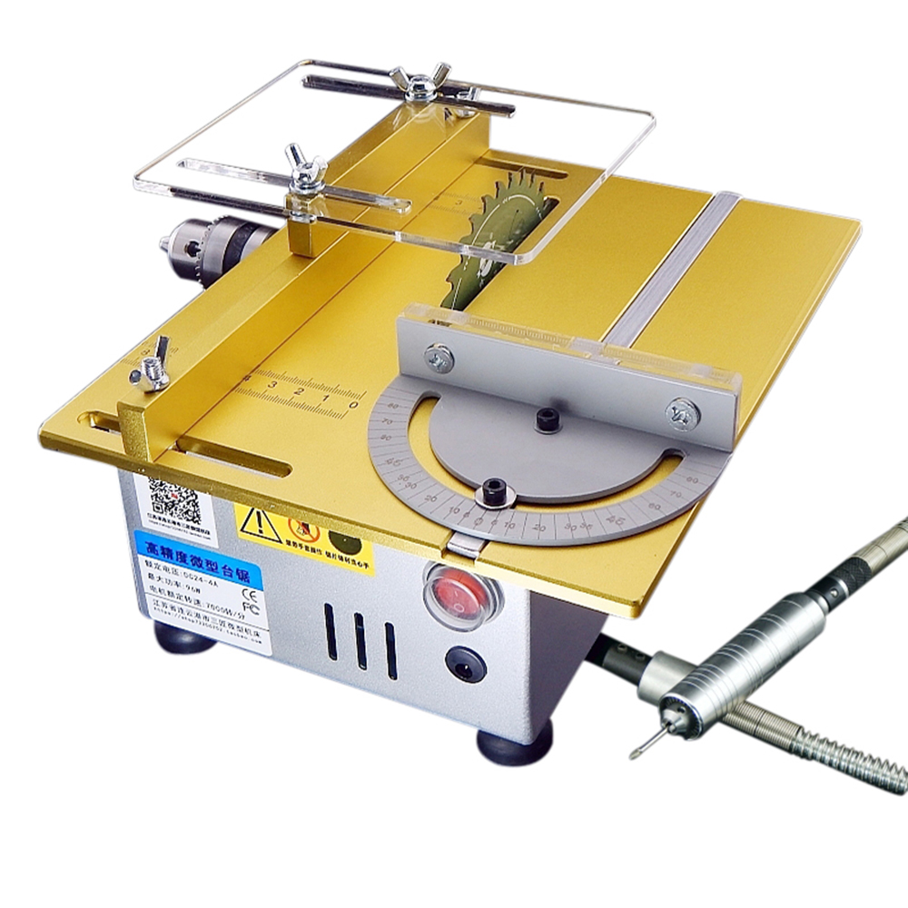 Multifunction Mini Table Saw Handmade Woodworking Bench Lathe Electric Polisher Grinder DIY Model Cutting Saw 7000RPM B12 Chuck