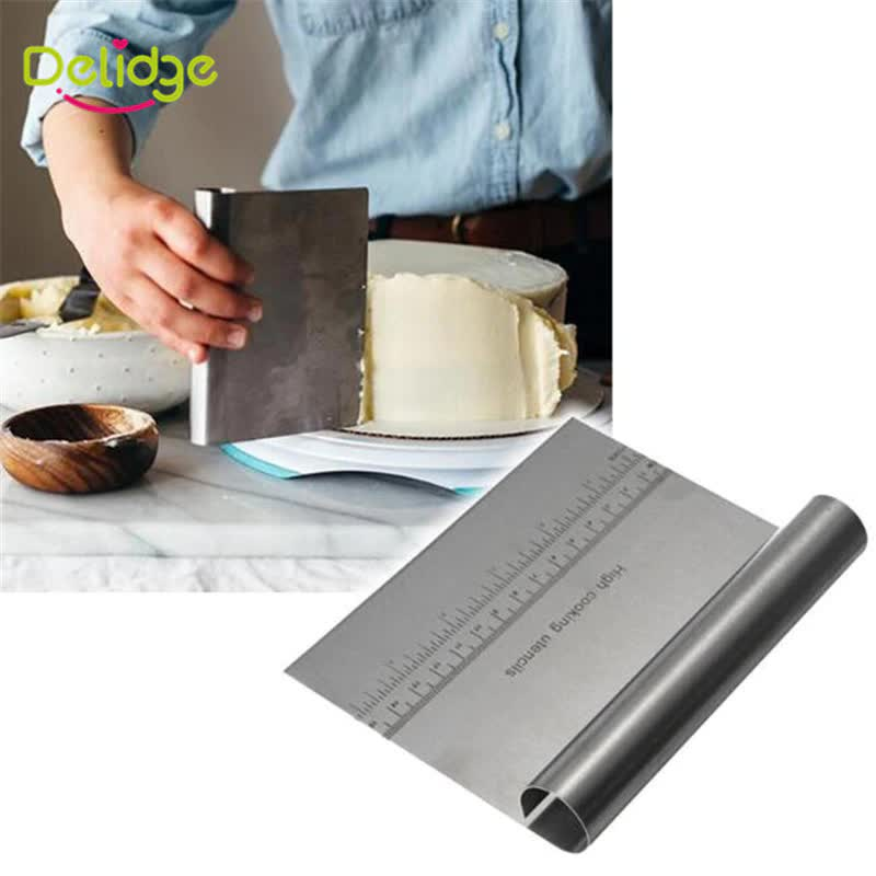 Delidge 1pc Stainless Steel Pizza Dough Scraper Cutter Baking Pastry Spatulas Fondant Cake Decoration Tools Kitchen Accessories
