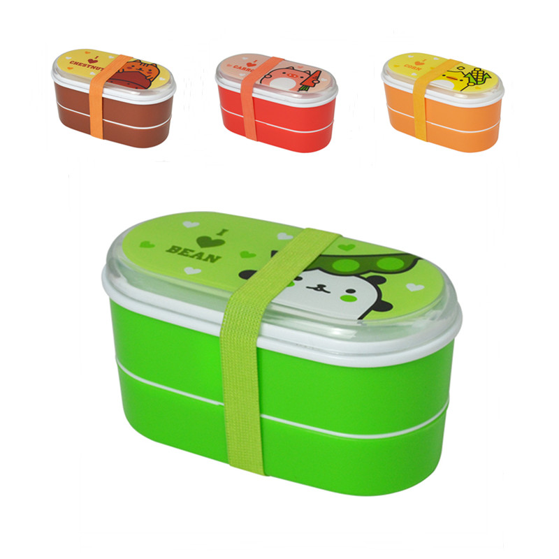 High Quality Cartoon Healthy Plastic Bento Box 600ml Lunch Bento Boxes Food