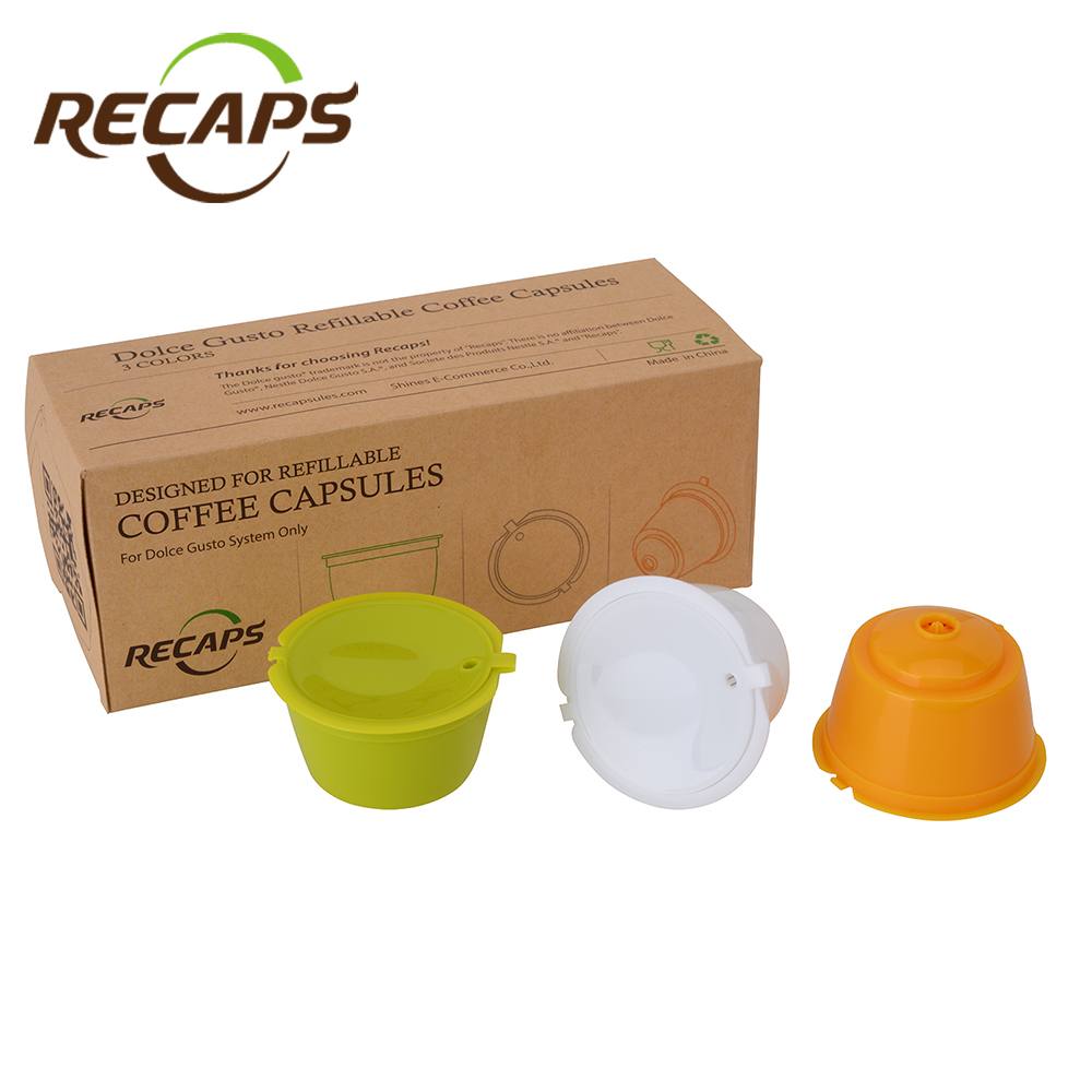 Recaps 3pcs Reusable Refillable Capsules Pods for Nescafe Dolce Gusto Machines Maker Coffee Capsule Pod Cup Cafeteira
