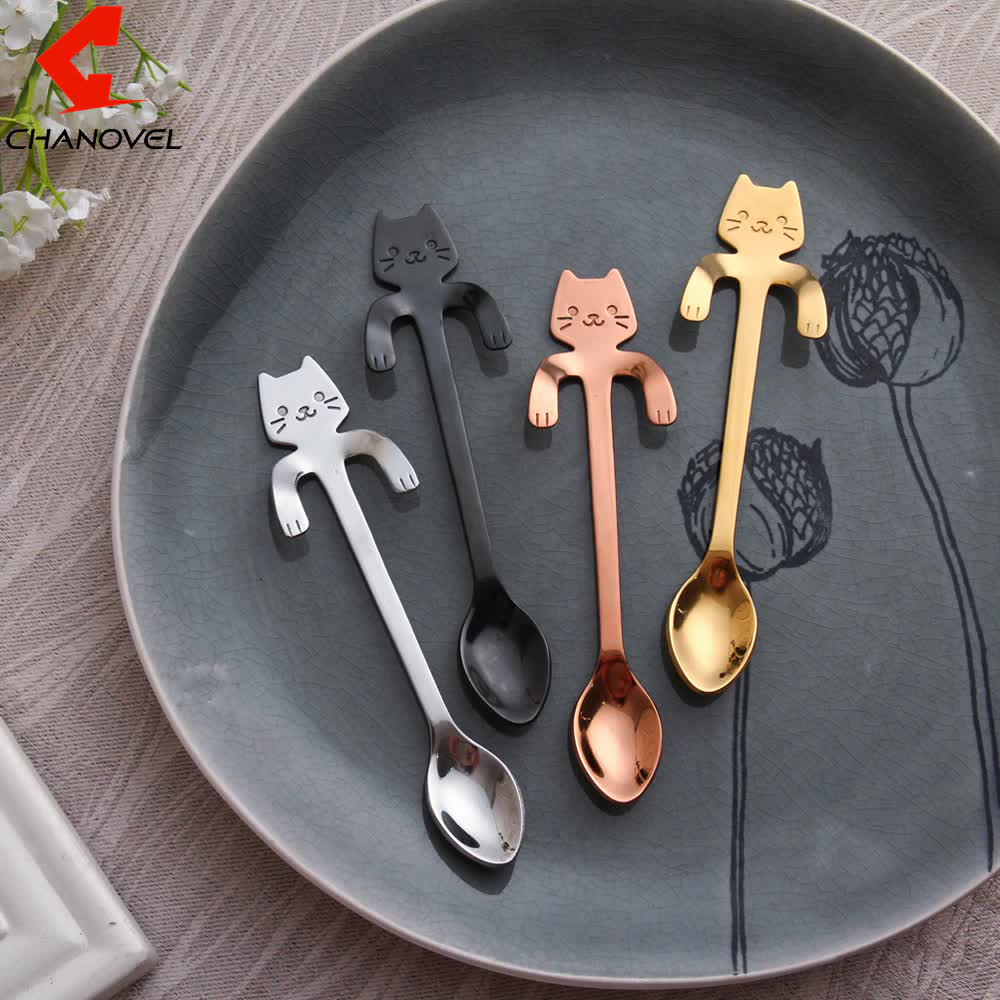 CHANOVEL 1 pcs stainless steel Cat coffee spoon dessertspoon Food grade ice cream candy teaspoon Kitchen Supplies tableware