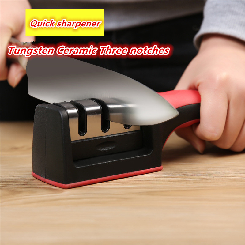 Dropshipping Quick Knife Sharpener Professional Tungsten Diamond Sharpening Stone 3 Stages Non-Slip  Kitchen Tools Household
