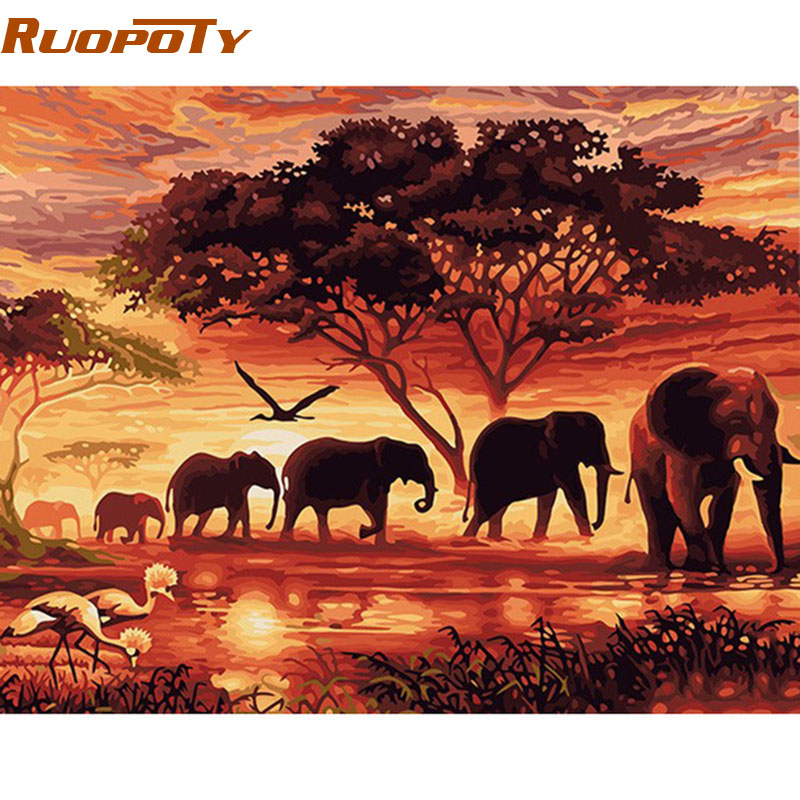 RUOPOTY Elephants Landscape DIY Digital Painting By Numbers Modern Wall Art Canvas Painting Unique Gift For Home Decor 60x75cm