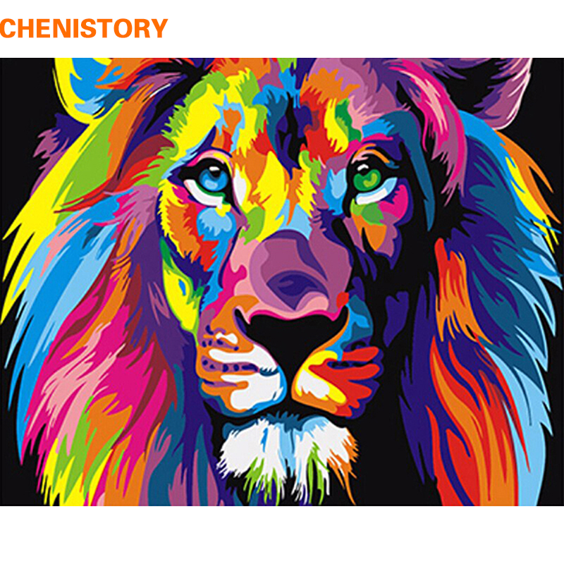 Frameless Colorful Lion Animals Abstract Painting Diy Digital Paintng