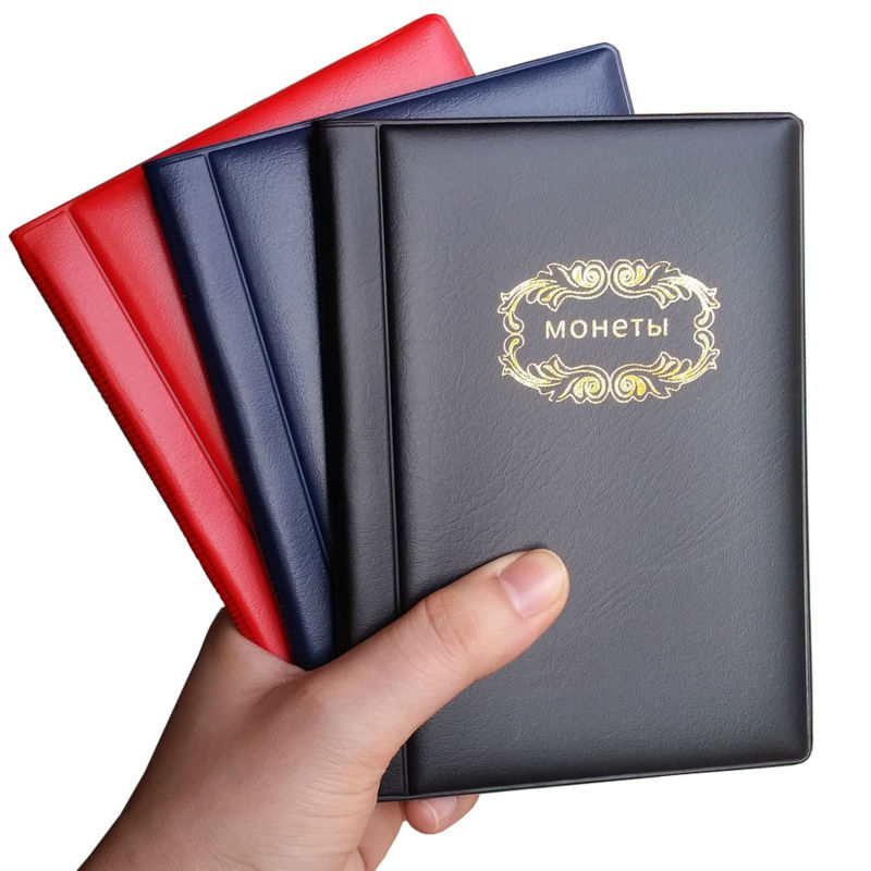 Russian Coin Album 10 Pages 120 Pockets Coin Collection Book Coin Holder Mini Hand Size Album Book Black Navy Blue Red 3 Color