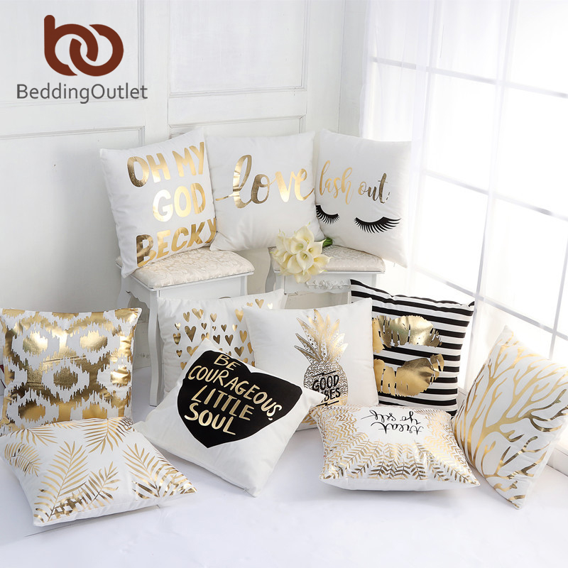 BeddingOutlet Bronzing Cushion Cover Gold Room Deocr Throw Pillow Cover Decorative Pillow Case Sofa Car Seat Cover Pillowcase