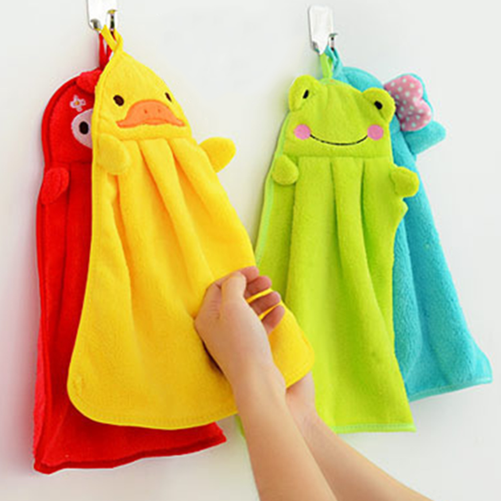 Eco-friendly Candy Colors Soft Coral Velvet Cartoon Animal Towel Can Be Hung Kitchen used