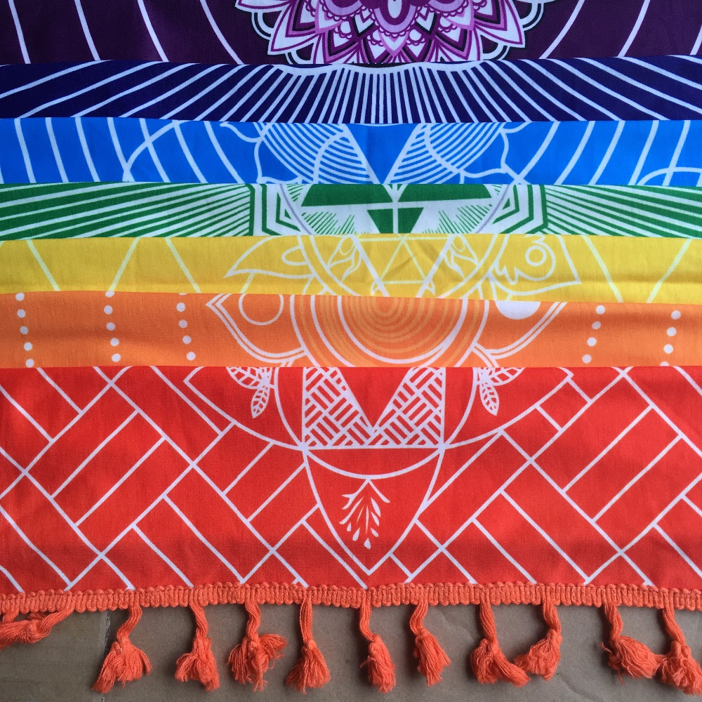 Better Quality Made Of Cotton Bohemia India Mandala Blanket 7 Chakra Rainbow Stripes Tapestry Beach Throw Towel Yoga Mat
