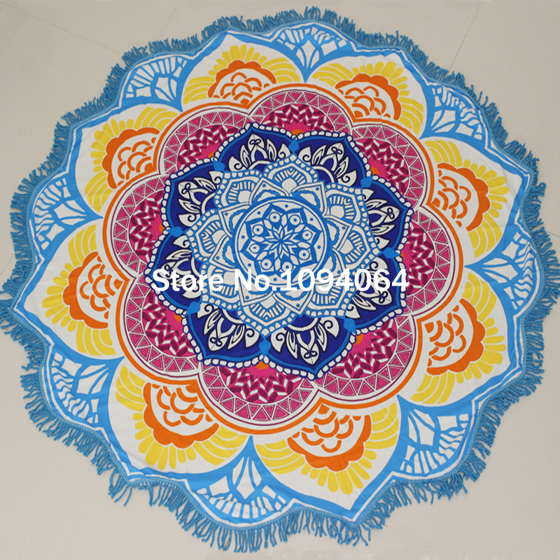 Tassel Indian Mandala Tapestry Lotus Printed Bohemian Beach Towel Yoga Mat Sun block Round Bikini Cover-Up Blanke