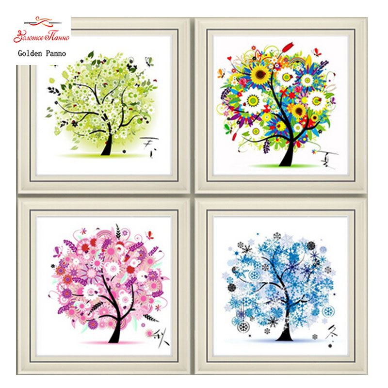 Golden panno,Needlework,DIY DMC Cross stitch,Sets For Embroidery kit,four season tree cotton thread home Counted Cross-Stitching