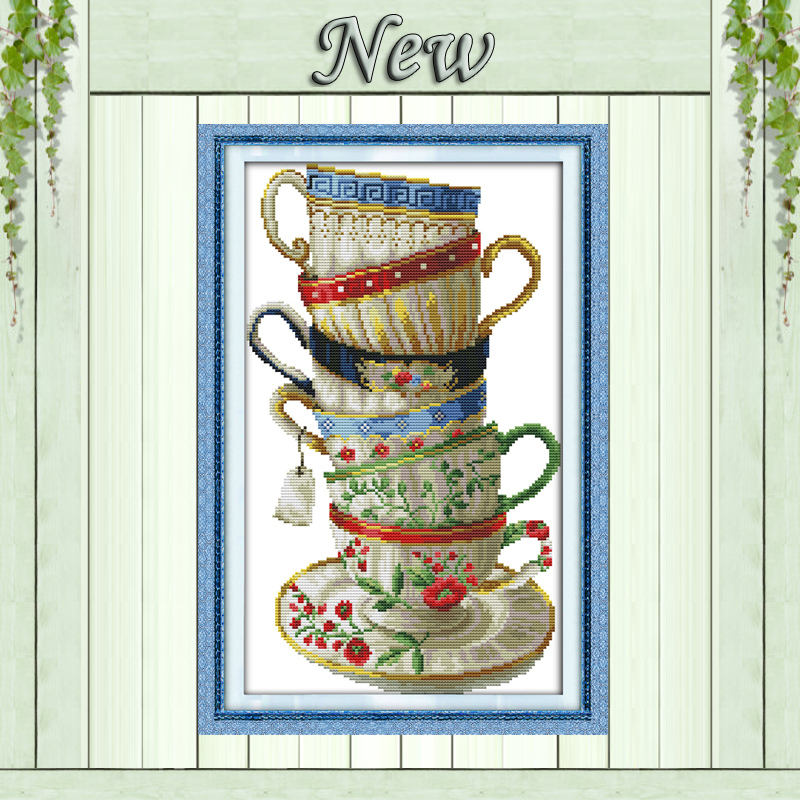 Elegant coffee cup,counted print on canvas DMC 14CT 11CT Cross Stitch kits,embroidery needlework Set,hand made Crafts Home Decor