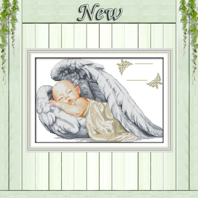 Little angel birth certificate,sleeping baby,pattern print canvas DMC 14CT 11CT DIY Cross Stitch Embroidery Needlework kits Sets