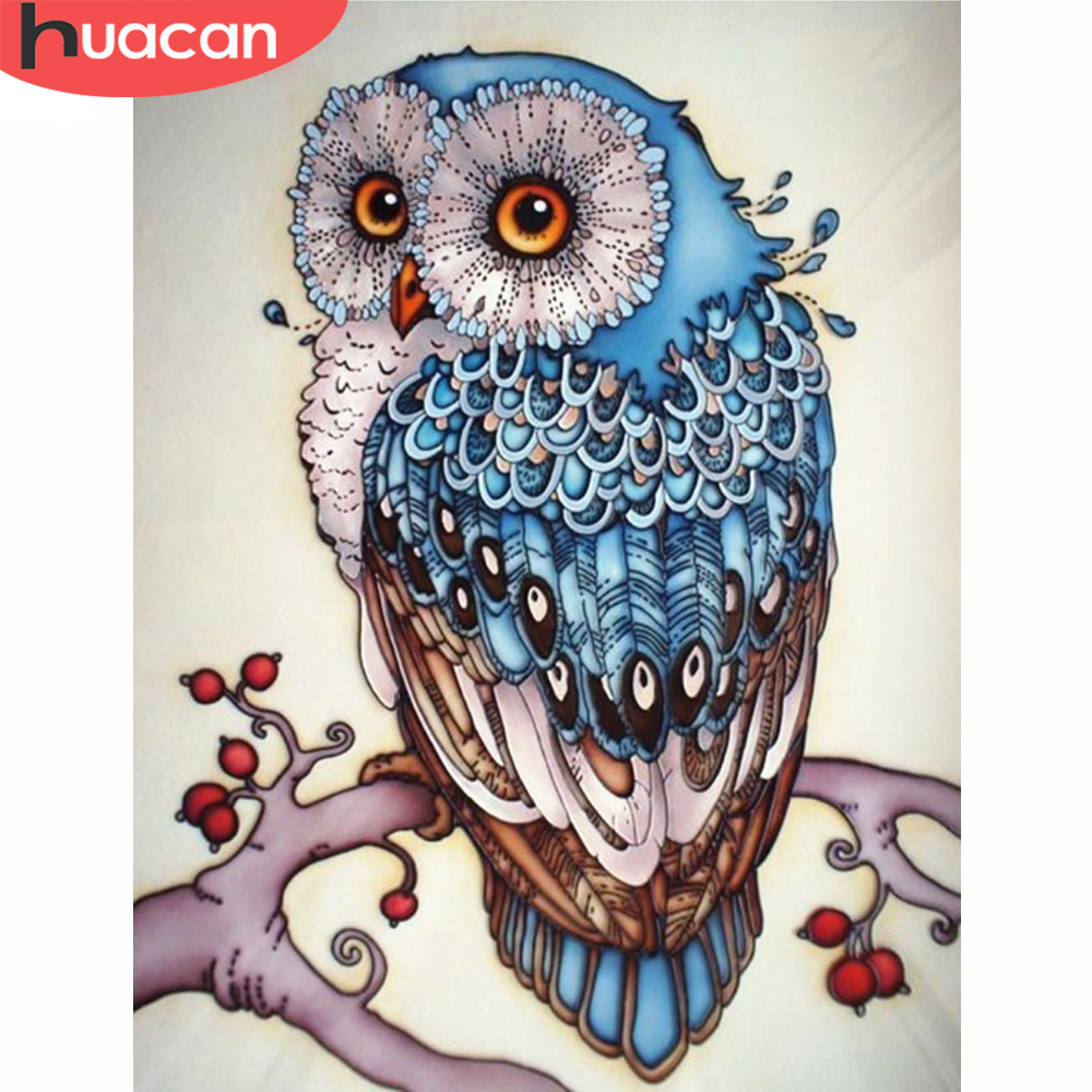 HUACAN Diamond Embroidery Owl Diamond Mosaic DIY Rhinestones Picture Diamond Painting Cross Stitch Animal Sale Needle Gifts