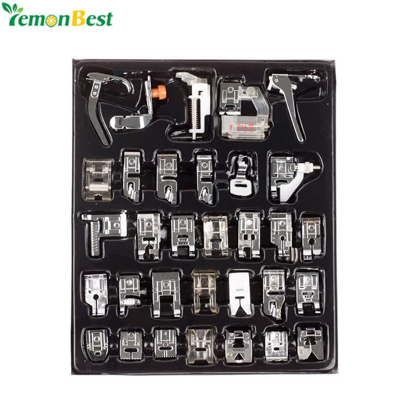 32pcs Home Domestic Sewing Machine Presser Foot Feet Kit Set With Box For Brother Singer Janome DIY Sewing Machine Accessories