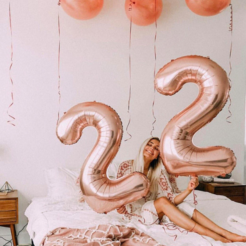 32 inch Number Balloon 1st birthday party decorations kids 30 Digit gold balloons Wedding Figure graduation 2020 party balloons