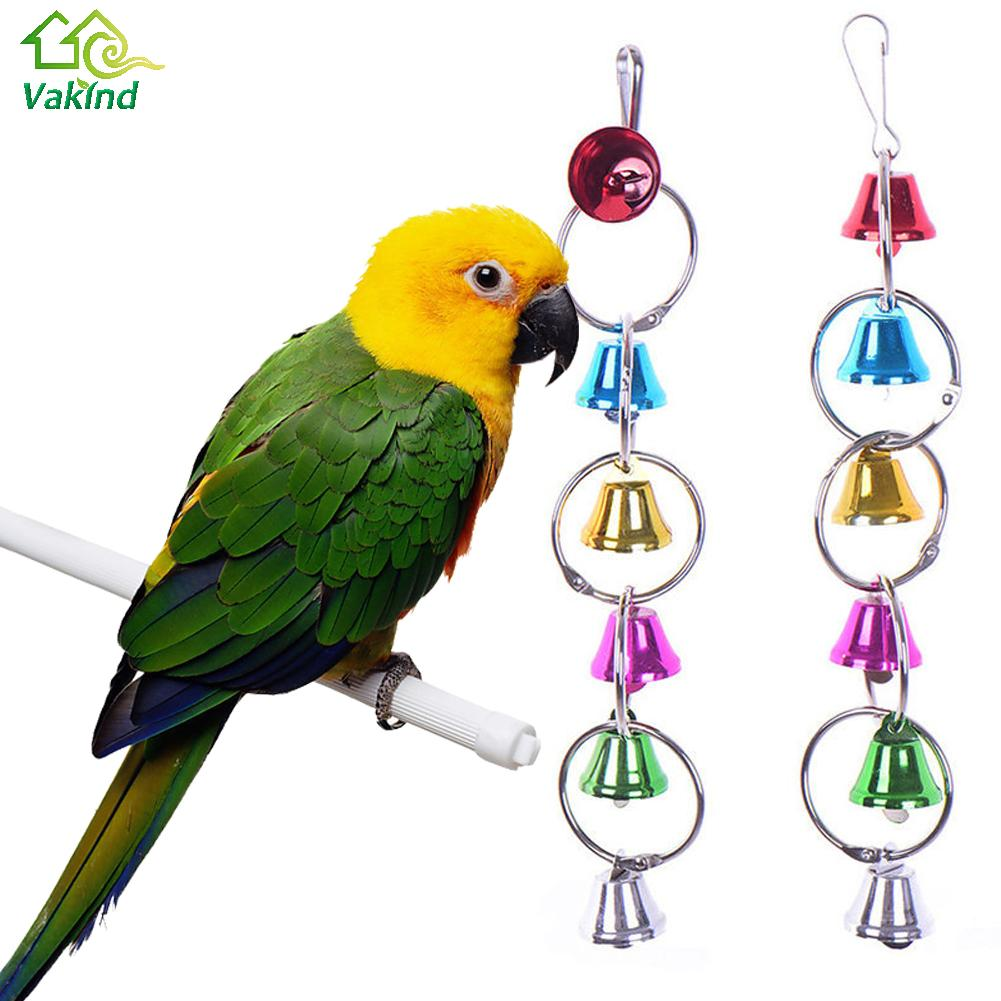 Colorful Parrot Bird Toys Metal Ring Bell Hanging Cage Toys For Parrot Squirrel Parakeet Birds Pet Bird Accessories