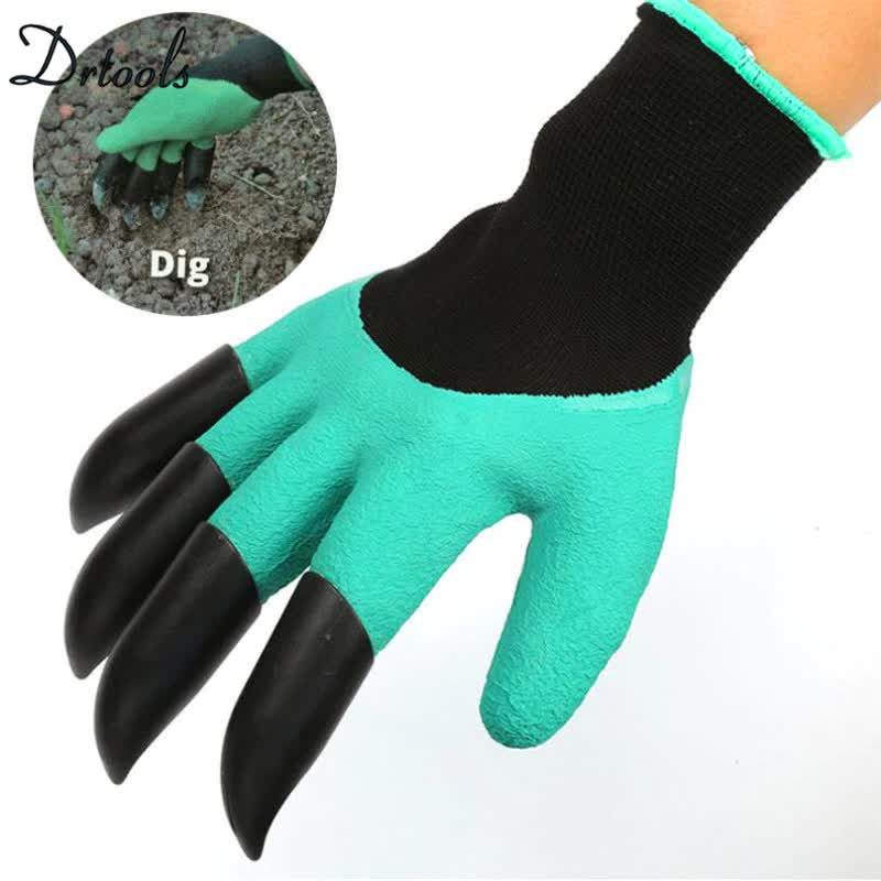 2018 Garden Gloves with 4 ABS Plastic Claws for garden Digging Planting  1 pair Drop GT202