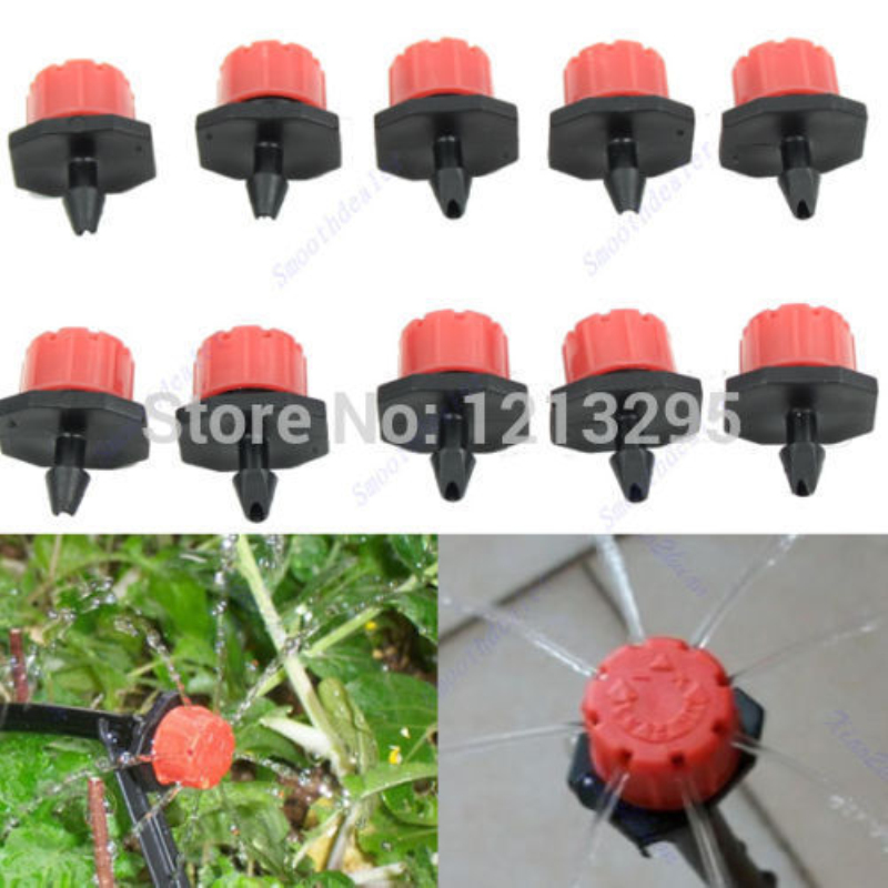 Y102 50pcs Garden Irrigation Misting Micro Flow Dripper Drip Head 1/4'' Hose