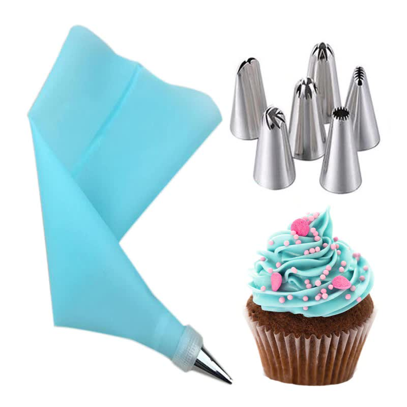 Big Size Nozzles Silicone Icing Cream Pastry Bag and Stainless Steel Nozzles Home DIY Baking Cake Decoration Tips Piping Set