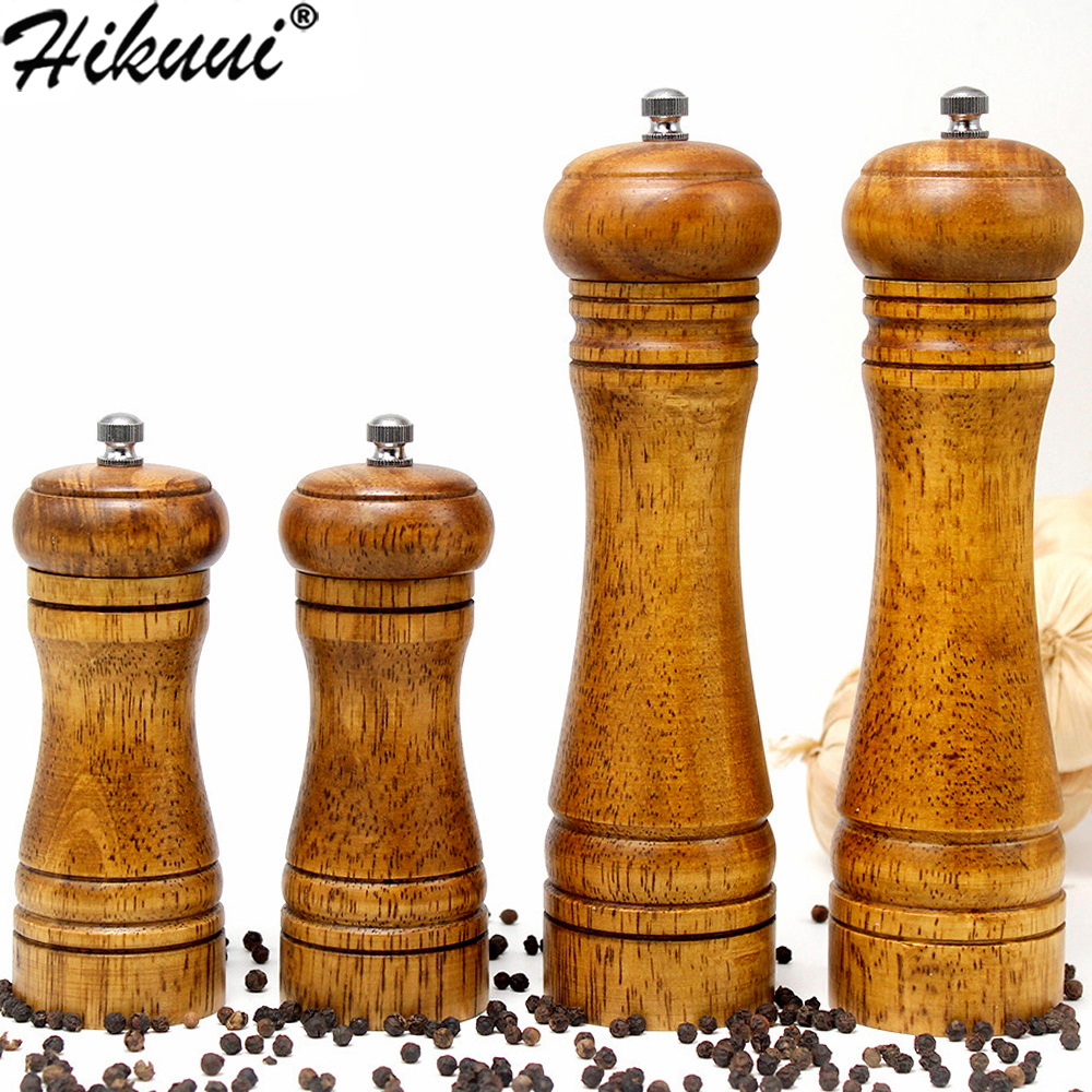 HIKUUI Classical Oak Wood Pepper Spice Mill Grinder Set Handheld Seasoning Mills Grinder Ceramic Grinding Core BBQ Tools Set