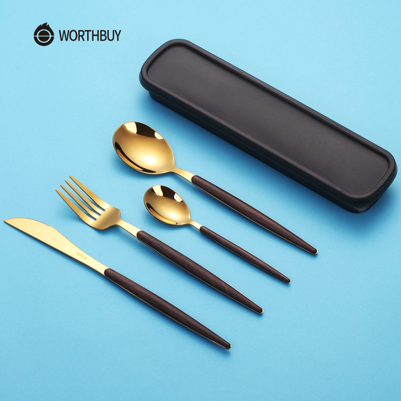 WORTHBUY Western Gold Cutlery Set 304 Stainless Steel Cutlery Kitchen Knife Spoon Fork Dinner Set Portable Travel Tableware Set