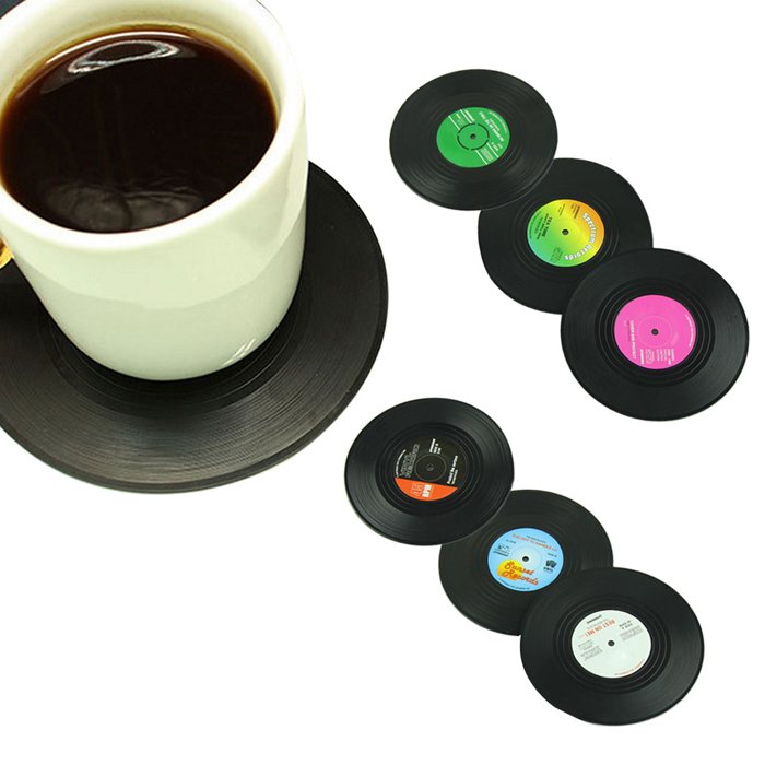 6pcs/set Vintage Vinyl Record Beverage Coasters Anti-slip Cup Coffee Mug Mat Heat Resistant Table Placemat