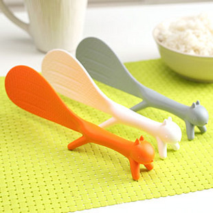 Special Ladles  Kitchen Tool Korean Cute Lovely Fashion Kitchen Supplie Squirrel Shaped Ladle Non Stick Rice Paddle Meal Spoon