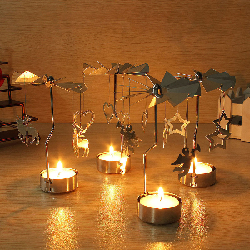 4 Style Christmas Candle Holder Rotary Spinning Carousel Angle Light Christmas Gift Candle Holder Party New Year Decoration