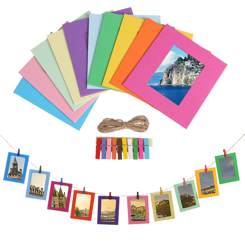10Pcs Combination Paper Frame with Clips 2M Rope 3 5 Inch Wall Photo Frame for Picture DIY Hanging Album Wedding Decoration