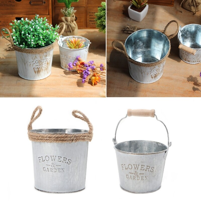 Creative Vintage Galvanised Metal Iron Flower Garden Shabby Vase Pot Barrel Planter Decor Desktop Flowers Vase for Home Decor