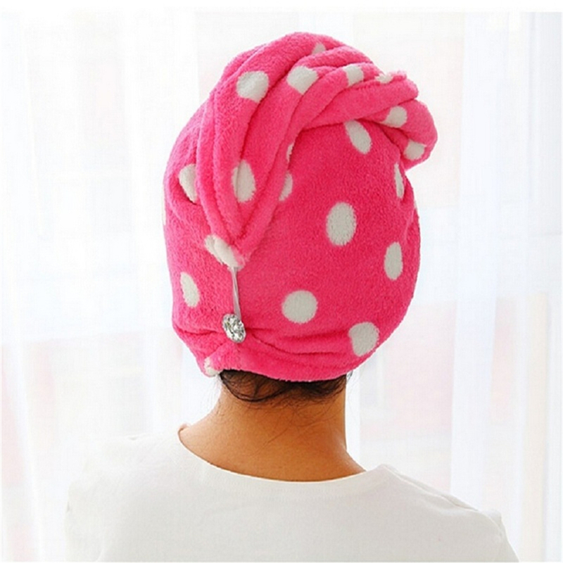 Womens Girls Lady's Magic Quick Dry Bath Hair Drying Towel Head Wrap Hat Makeup Cosmetics Cap Bathing Tool Home Convenient Tools