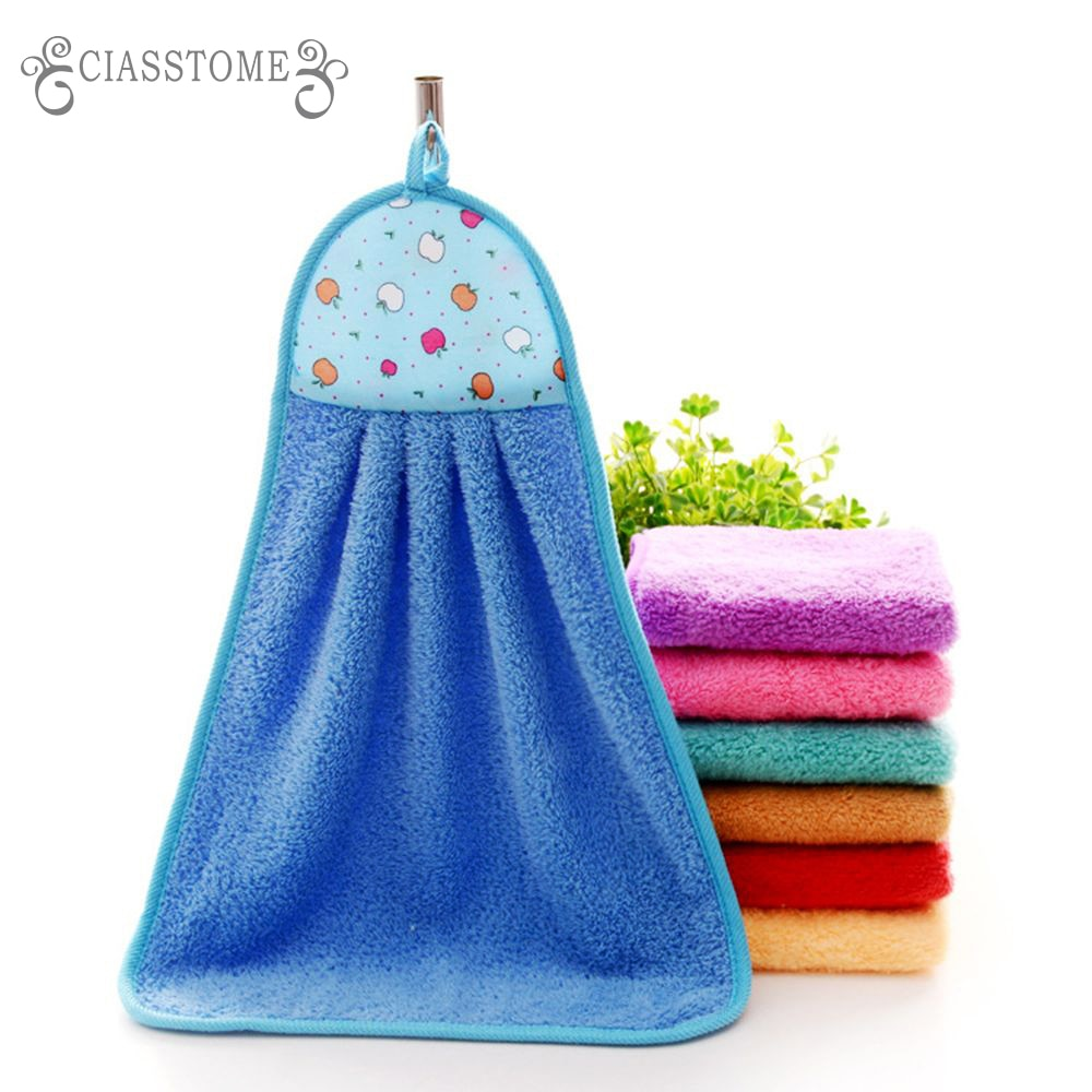 Hand Towel Plush Nursery Hanging Kitchen Bathroom Thick Soft Cloth Wipe Towel Cotton Non-oil-Stick Dish Washing Quick-dry