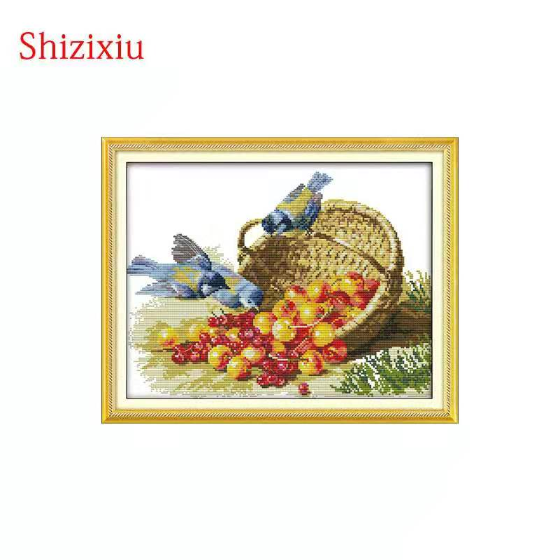 14CT 11CT Print cloth DMC handmade cross-stitch,paintings Birds and fruit embroidery Cross Stitch kit,Needlework sets Home Decor