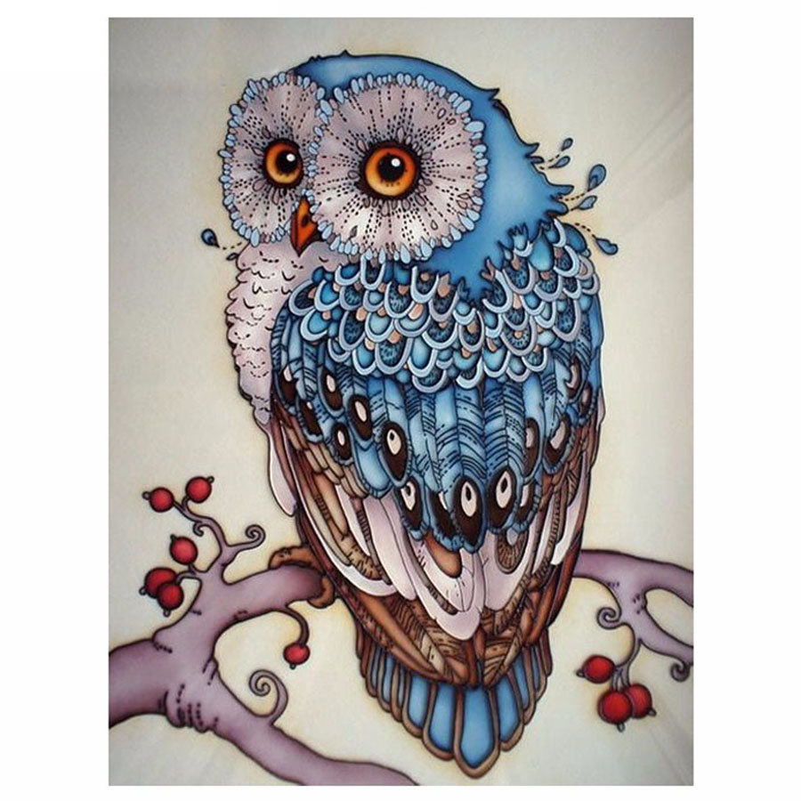 5D DIY Diamond Painting Owl Cross Stitch Beautiful Blue Owl Animal Needlework Home Decorative 3D Full Square Diamond Embroidery