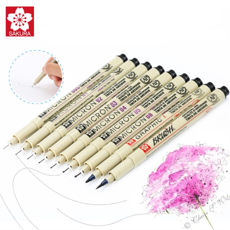 7/9/11 pcs/set Sakura Pigma Micron Pen Needle drawing Pen Lot 005 01 02 03 04 05 08 Brush pen Art Markers