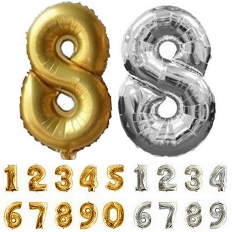 32inch Number Foil Balloon Large Digit Helium Ballons For Christmas Wedding Decoration Birthday Party Air Balls Globos Supplies