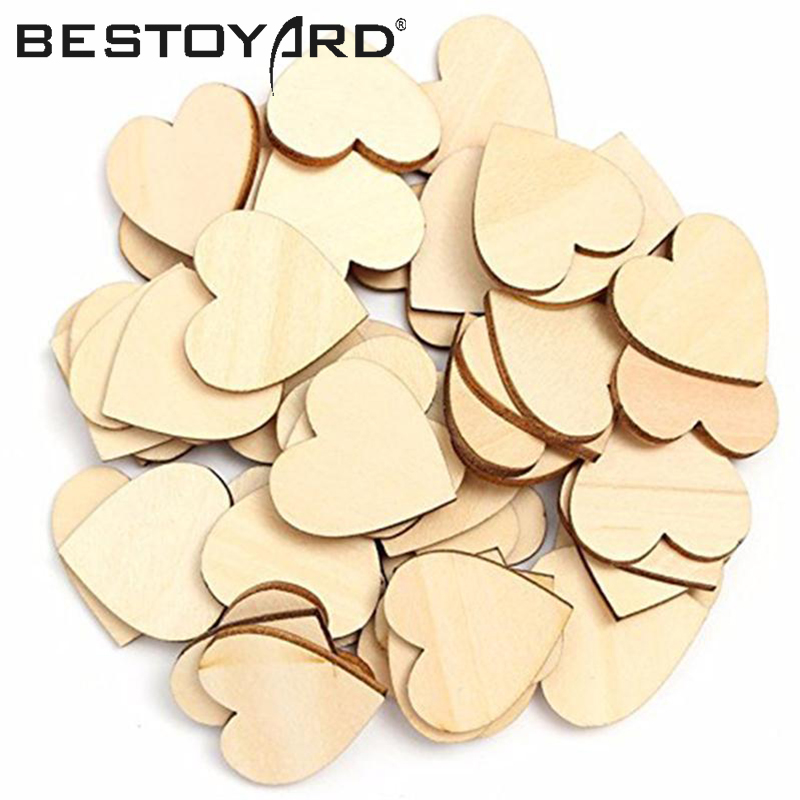 50PCS DIY Wooden Heart Kids Birthday Party Supplies Diy Scrapbook Craft Wedding Decoration Valentine'S Day