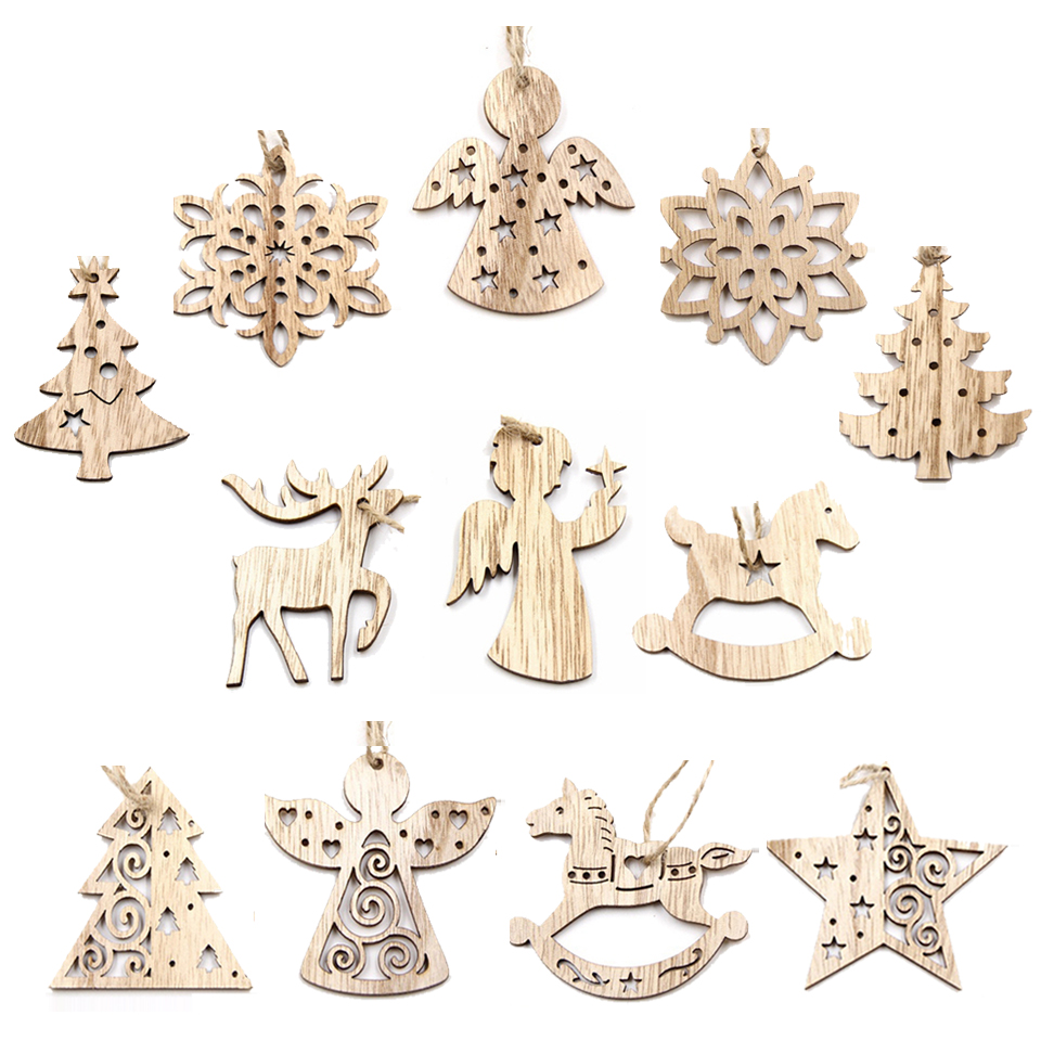 1Set Christmas Wooden Pendant Snowflakes&Deer&Tree Ornaments Xmas Tree Ornaments Christmas/Wedding Party Decorations Kids Gifts