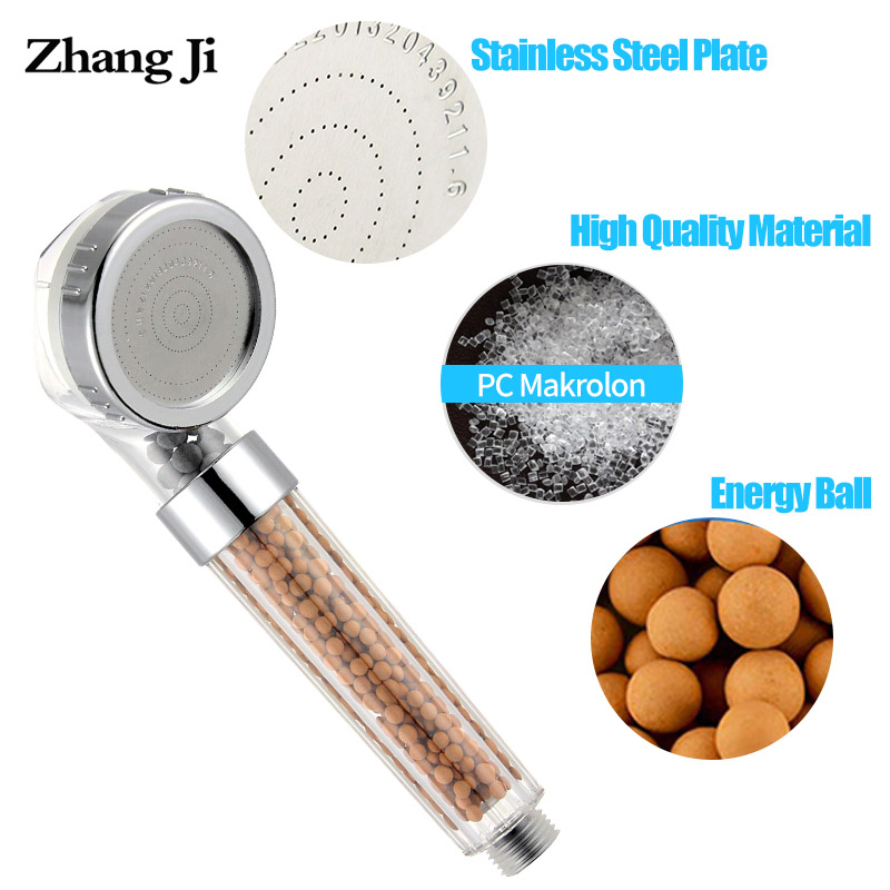 Zhang Ji 210x63mm Anion Filter SPA Shower Head Water Saving Quality High Pressure Water Sprayer Rainfall Showerhead 2 Colors