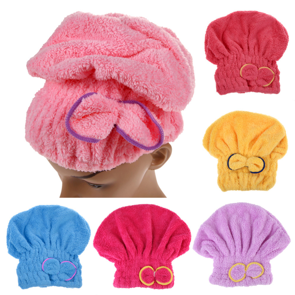 Microfiber Hair Turban Shower Cap Quickly Dry Hair Shower Hat Wrapped Towel Bathing Cap Bathroom Accessories