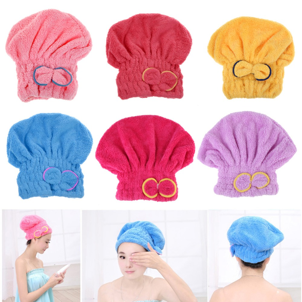 6 Colors Textile Microfiber Hair Turban Bath Quickly Dry Hair Hat Shower Caps for Womens Girls Ladies Bathroom Products