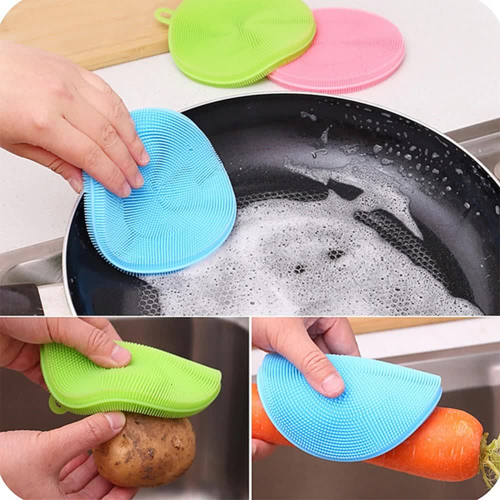 Multifunction Silicone Dish Bowl Cleaning Brush Silicone Scouring Pad silicone dish sponge Kitchen Pot Cleaner Washing Tool