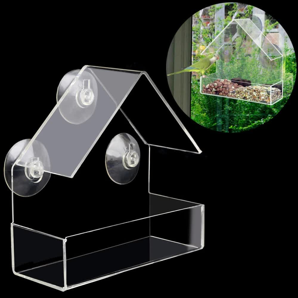 Free delivery Creative Pet Bird feeder Clear Window Squirrel Proof Bird Feeder Window bird feeders  new