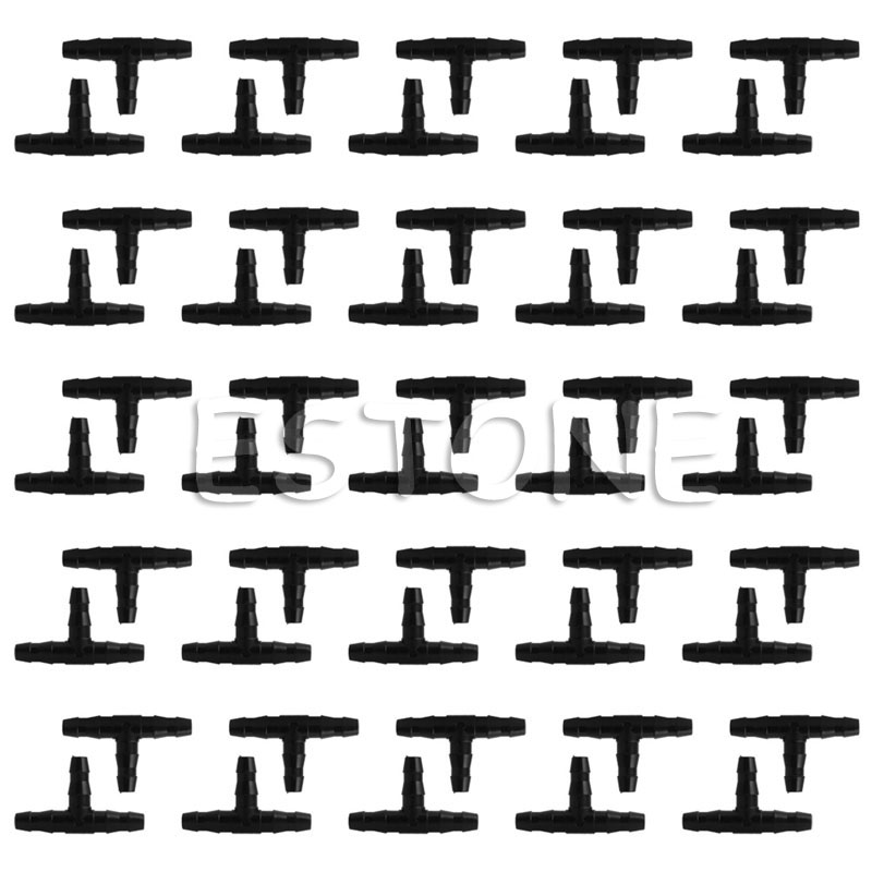 50pcs Sprinkler Irrigation 4/7mm Tee Pipe Barb Hose Fitting Joiner Drip System for 4mm/7mm Tube