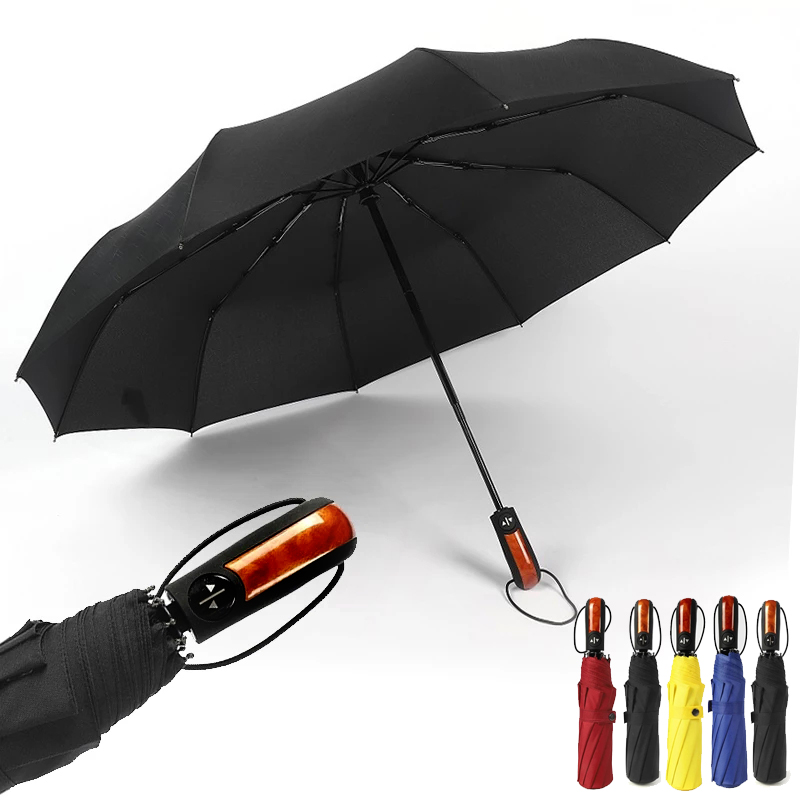 Automatic Male Umbrella Rain Women Anti UV Parasol Windproof Chinese Men Folding Car Wooden Umbrellas Paraguas Guarda Chuva