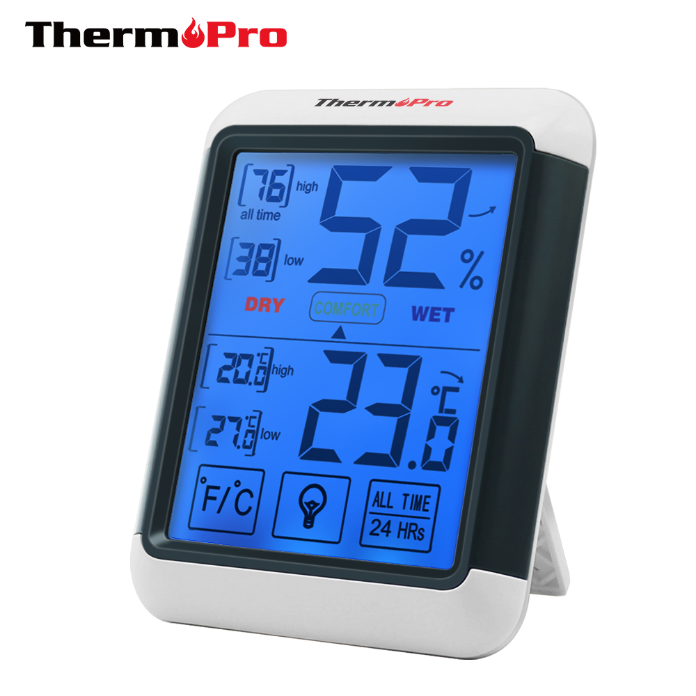 Thermopro TP55 Digital Hygrometer Thermometer Indoor Thermometer with Touchscreen and Backlight Humidity Temperature Sensor