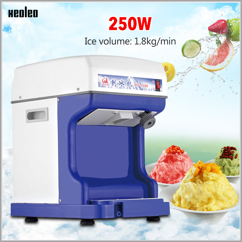 XEOLEO Electric Ice Planer Commercial Ice Crusher Automatic Snow cone machine Cube Ice Crusher 220V/110V 1.8kg/min White/Blue