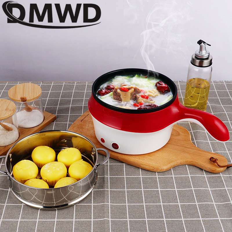 DMWD Multifunction Electric Double Layer Hotpot Mini Noodle Cooker Non-stick Skillet Eggs Soup Cooking Pot Rice Food Steamer Pan